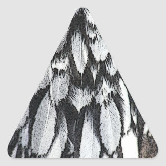 Plumas de plata del cordón pegatina triangular