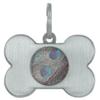 Plumas de plata del pavo real del brillo placas de nombre de mascota