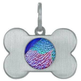 Plumas del azul de Psychedellic Placa De Mascota