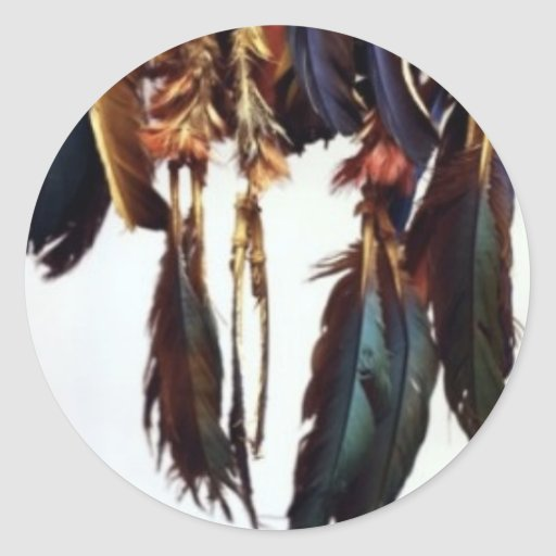 Plumas del nativo americano etiqueta