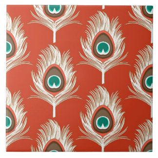 Plumas del pavo real, blancas en la mandarina azulejo cuadrado grande