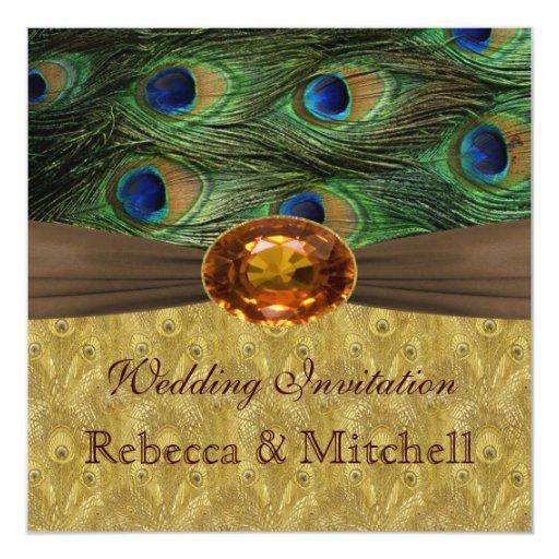 """Plumas del pavo real con el falso boda ambarino invitación 5.25"""" x 5.25"""""""