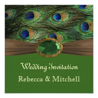 """Plumas del pavo real con el falso boda del invitación 5.25"""" x 5.25"""""""