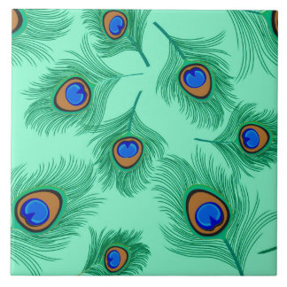 Plumas del pavo real de la turquesa en la azulejo cuadrado grande