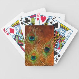 Plumas del pavo real de los naipes de la bicicleta cartas de juego