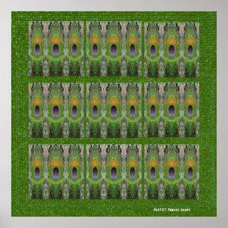Plumas del pavo real - decoraciones del exterior d poster