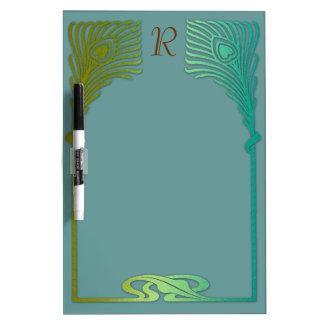 Plumas del pavo real del art déco del verde azul pizarras blancas de calidad