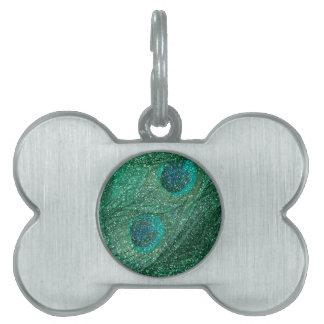 plumas del pavo real del brillo de la verde menta placa de mascota