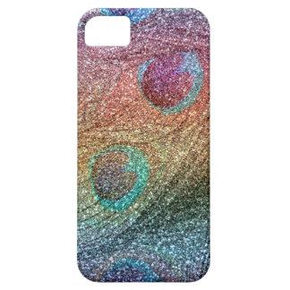 Plumas del pavo real del brillo del arco iris funda para iPhone SE/5/5s