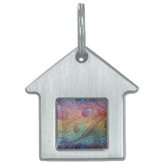 Plumas del pavo real del brillo del arco iris placas mascota