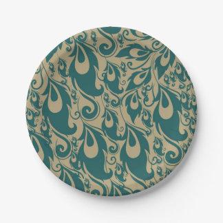 Plumas del pavo real del trullo plato de papel de 7 pulgadas