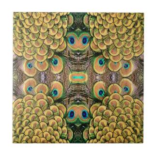 Plumas del pavo real del verde esmeralda y del oro azulejo cuadrado pequeño