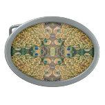 Plumas del pavo real del verde esmeralda y del oro hebilla cinturón oval