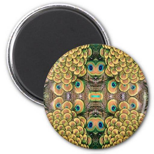 Plumas del pavo real del verde esmeralda y del oro iman de nevera