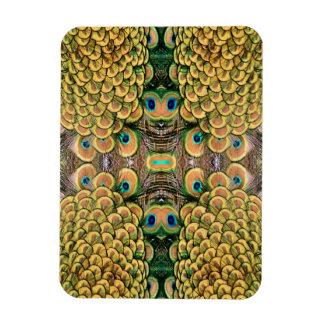 Plumas del pavo real del verde esmeralda y del oro imanes flexibles
