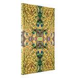 Plumas del pavo real del verde esmeralda y del oro lona envuelta para galerias