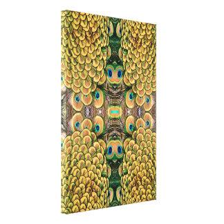 Plumas del pavo real del verde esmeralda y del oro lona estirada galerías