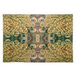 Plumas del pavo real del verde esmeralda y del oro manteles individuales