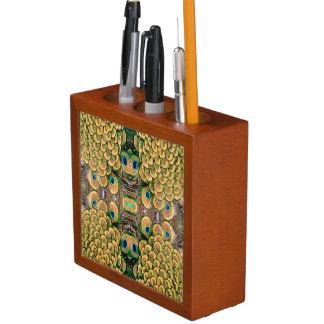 Plumas del pavo real del verde esmeralda y del oro organizador de escritorio