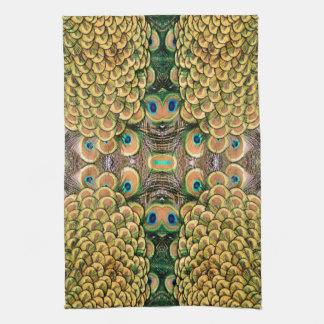 Plumas del pavo real del verde esmeralda y del oro toalla de cocina