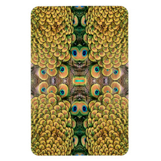 Plumas del pavo real del verde esmeralda y del oro rectangle magnet