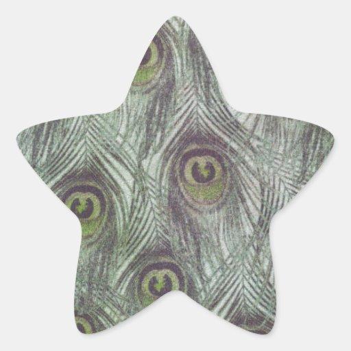 Plumas del pavo real del vintage pegatina en forma de estrella