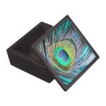Plumas del pavo real en la turquesa caja de recuerdo de calidad