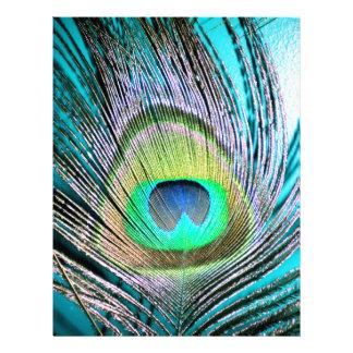 Plumas del pavo real en la turquesa membrete