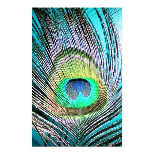 Plumas del pavo real en la turquesa papelería de diseño