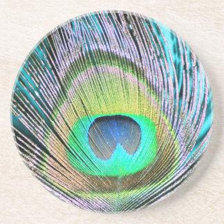 Plumas del pavo real en la turquesa posavasos manualidades