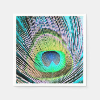 Plumas del pavo real en la turquesa servilletas de papel