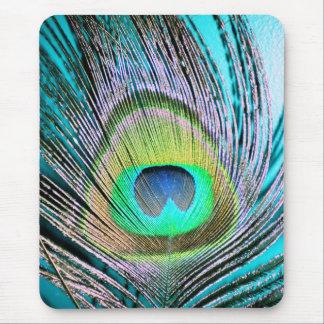 Plumas del pavo real en la turquesa alfombrilla de ratón