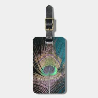 Plumas del pavo real en negro y turquesa etiquetas de equipaje