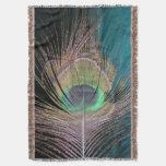 Plumas del pavo real en negro y turquesa manta