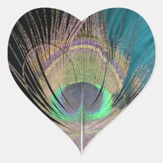 Plumas del pavo real en negro y turquesa pegatina corazon