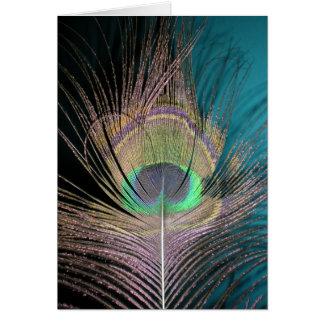 Plumas del pavo real en negro y turquesa tarjeta de felicitación