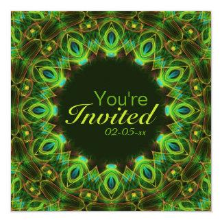 Plumas del pavo real invitación 13,3 cm x 13,3cm
