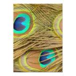 Plumas del pavo real invitacion personalizada
