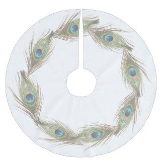 Plumas del pavo real falda para arbol de navidad de poliéster