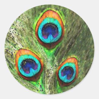 Plumas del pavo real pegatina redonda