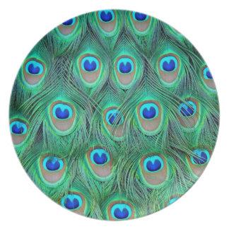 plumas del pavo real platos para fiestas