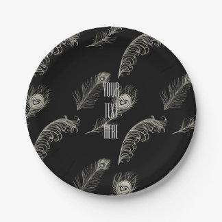 Plumas del pavo real plato de papel de 7 pulgadas