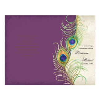 Plumas del pavo real - púrpura, casando programa flyer a todo color
