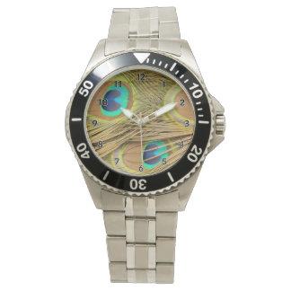 Plumas del pavo real relojes de mano