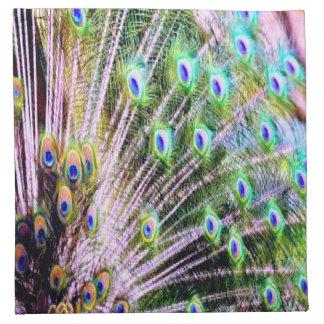 Plumas del pavo real servilletas imprimidas