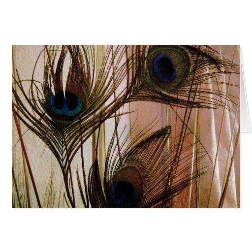 Plumas del pavo real tarjeta de felicitación