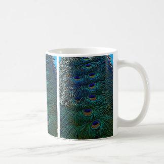 Plumas del pavo real taza de café