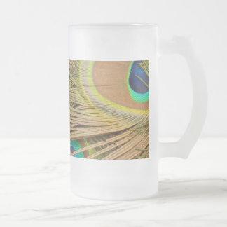 Plumas del pavo real taza de cristal