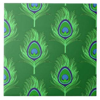 Plumas del pavo real, verde lima en verde azulejo cuadrado grande