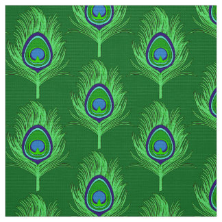Plumas del pavo real, verde lima en verde telas